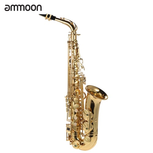 ammoon bE Alto Saxphone Brass Lacquered Gold E Flat Sax 802 Key Type Woodwind Instrument with Cleaning Brush Cloth Gloves Cork Grease Strap Padded Case от tomtop.com INT