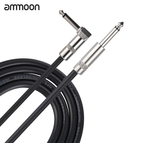 ammoon 5M / 16.4 Feet Instrument Guitar Cable 1/4-Inch 6.35mm Straight to Right Angle Plug with Black PVC Jacket от tomtop.com INT