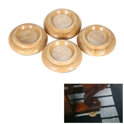 4pcs/set Solid Wood Upright Piano Caster Cups w/ EVA Anti-slip Mat Natural Color I1872