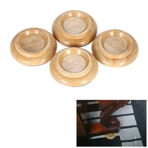 4pcs/set Solid Wood Upright Piano Caster Cups w/ EVA Anti-slip Mat Natural Color I1872