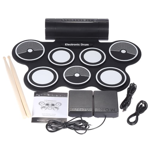 Portable Foldable Silicone Electronic Drum Pad Kit Digital USB MIDI Roll-up with Drumstick Foot Pedal 3.5mm Audio CableXylophones  &amp; Accessories<br>Portable Foldable Silicone Electronic Drum Pad Kit Digital USB MIDI Roll-up with Drumstick Foot Pedal 3.5mm Audio Cable<br><br>Blade Length: 48.0cm