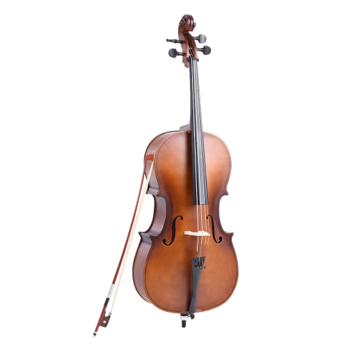 4/4 Full Size Solid Wood Cello Matte Finish Basswood Face Board with Bow Rosin Carrying Bag for Students Music Lovers от tomtop.com INT