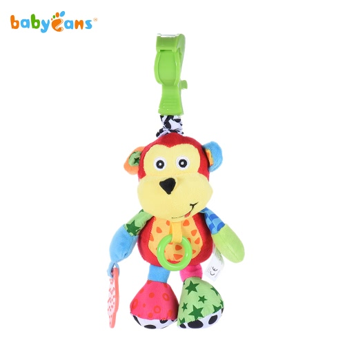 babyfans FK8012 Cartoon Monkey Doll Monkey-model Musical Stuffed Toy Educational Toy Pull-Vibration Music Plush Toy for Infanette Hanging or for Baby Own Playing