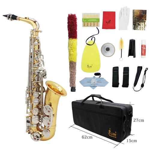 Buy LADE Alto Saxophone Sax Glossy Brass Engraved Eb E-Flat Natural White Shell Button Wind Instrument Case Mute Gloves Cleaning Cloth Grease Belt Brush