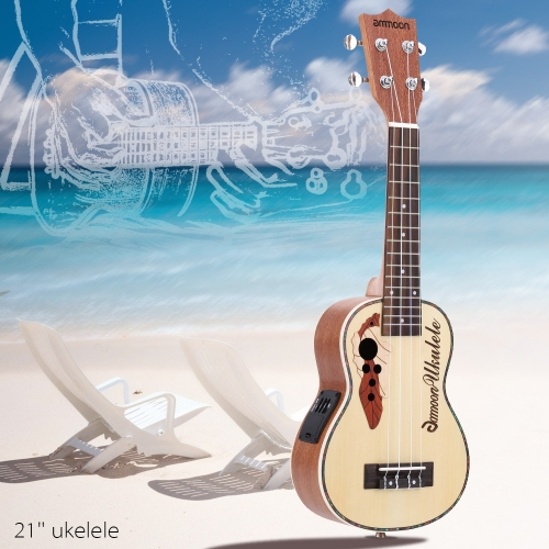 ammoon Spruce 21 Acoustic Ukulele 15 Fret 4 Strings Stringed Musical Instrument with Built-in EQ PickupUkuleles<br>ammoon Spruce 21 Acoustic Ukulele 15 Fret 4 Strings Stringed Musical Instrument with Built-in EQ Pickup<br><br>Blade Length: 56.0cm