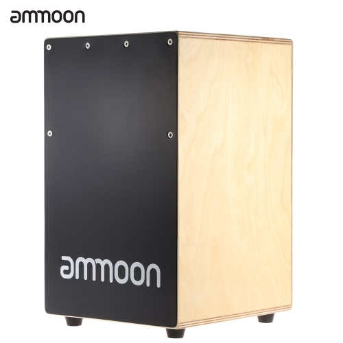 Buy ammoon Wooden Cajon Hand Drum Children Box Persussion Instrument Stings Rubber Feet 23 * 24 37cm