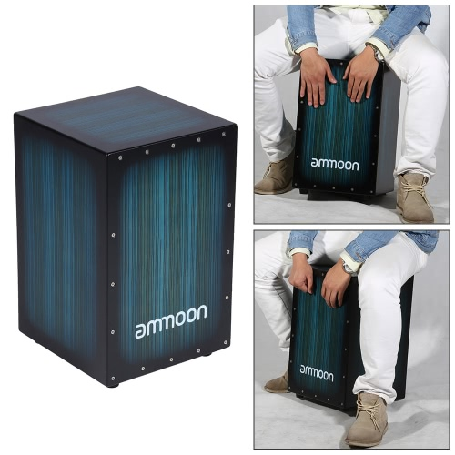Buy ammoon Wooden Box Drum Cajon Hand Persussion Instrument Zebra Wood Stings Rubber Feet 30 * 31 48cm