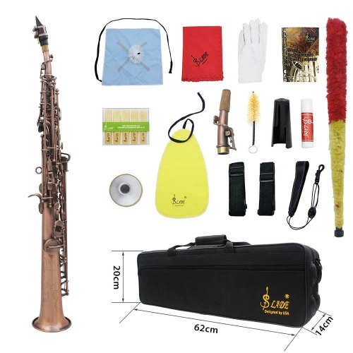 Buy LADE WSS-899 Professional Red Bronze Straight Bb Soprano Saxophone Sax Woodwing Instrument Abalone Shell Key Carve Pattern Case Gloves Cleaning Cloth Straps Grease Brush