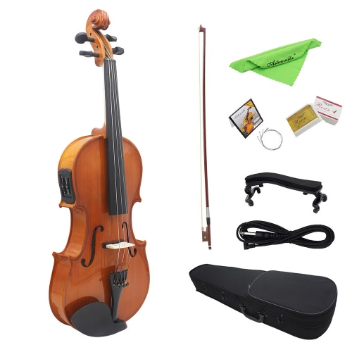 "4/4 Full Size Natural Acoustic EQ Violin Fiddle Solid Wood Spruce Face Board with 6.35mm 1/4"" Connector Wire Shoulder Rest Bow Rosin String Clean Cloth Hard Case"