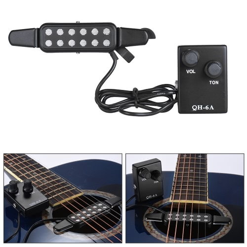 Wired Acoustic Folk Guitar Sound Hole Pickup Clip-on Magnetic Induction with Tone Volume Controller Audio Cable