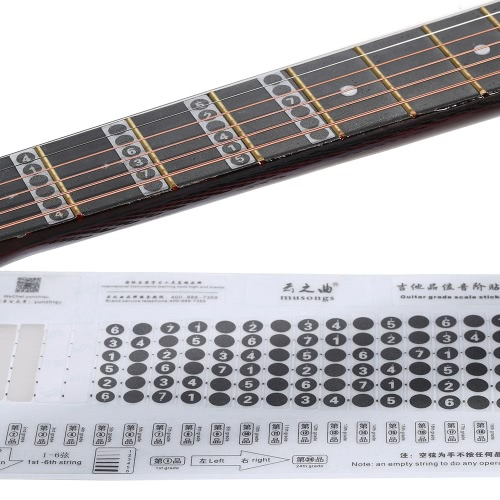 Guitar Notation Melody Fingerboard Fretboard Grade Fret Scale Sticker Note Label Decal NeckNote for 6 Strings Acoustic Classic Electric Guitar Beginner Learning Practice от tomtop.com INT