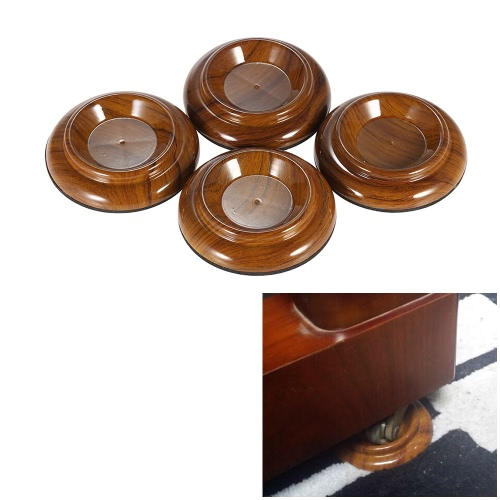 4pcs/set Double Round Acrylic Upright Piano Caster Cups w/ Rose Wood Pattern & EVA Anti-slip Mat