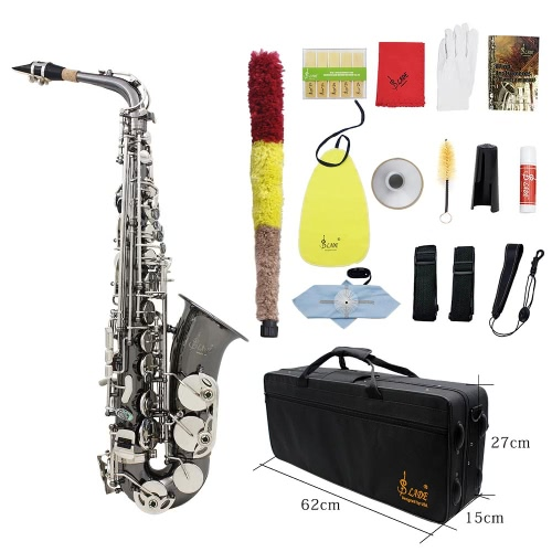 Buy Professional Brass Bend Eb E-flat Alto Saxophone Sax Black Nickel Plating Abalone Shell Keys Carrying Case Gloves Cleaning Cloth Straps Grease Brush