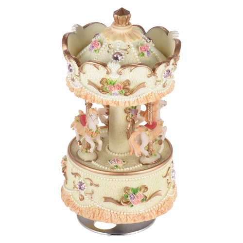 Laxury Windup 3-horse Carousel Music Box Creative Artware/Gift Melody Castle in the Sky Pink/Purple/Blue/Gold Shade for Option I1153G
