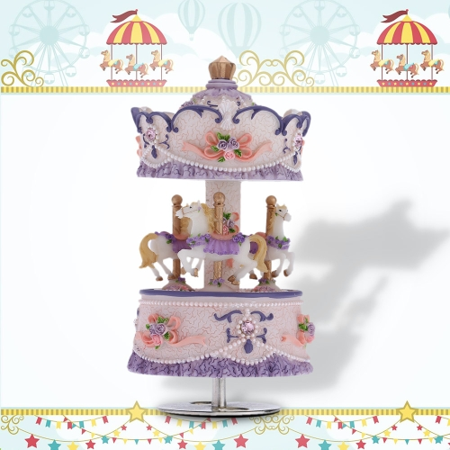 Laxury Windup 3-horse Carousel Music Box Creative Artware/Gift Melody Castle in the Sky Pink/Purple/Blue/Gold Shade for Option