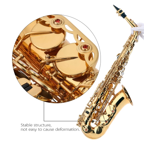 Buy bE Alto Saxphone Brass Lacquered Gold E Flat Sax 802 Key Type Woodwind Instrument Cleaning Brush Cloth Gloves Cork Grease Strap Padded Case