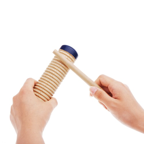 Wooden Guiro Shaker Baby Kid Child Early Educational Musical Instrument Rhythm Beats Toy Tool Percussion with  Mallet I893