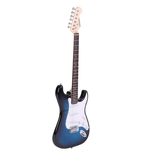 ammoon Full Size Electric Guitar Poplar Wood Body Rosewood Fingerboard with Gig Bag Strap Strings for Beginner I1918BL