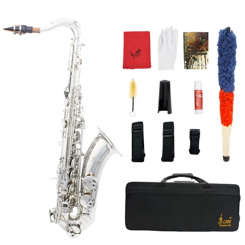 Buy LADE Brass Bb Tenor Saxophone Sax Carved Pattern Pearl White Shell Buttons Wind Instrument Case Gloves Cleaning Cloth Grease Belt Brush