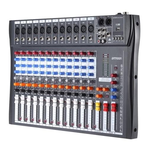 ammoon 120S-USB 12 Channels Mic Line Audio Mixer Mixing Console USB XLR Input 3-band EQ 48V Phantom Power with Power Adapterammoon 120S-USB 12 Channels Mic Line Audio Mixer Mixing Console USB XLR Input 3-band EQ 48V Phantom Power with Power Adapter<br><br>Blade Length: 56.0cm