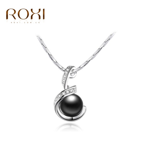 ROXI Fashion Crystal Rhinestone Simulated Pearl Pendant Necklace Women Bride Fine Wedding Engagement Jewelry J1188-1
