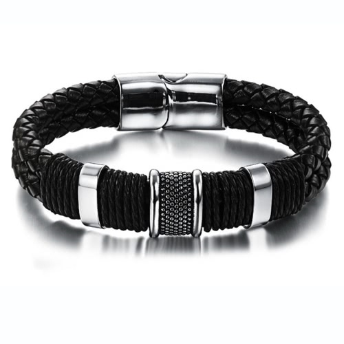 Image of Charming Men¡®s Genuine Leather Stainless Steel Magnetic Buckle Bracelet