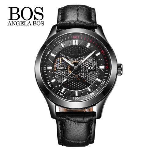 Angela Bos Men Wristwatch PU Leather Band Steel Watch Strap Automatic Skeleton Self-winding Mechanical WatchMechanical Watch<br>Angela Bos Men Wristwatch PU Leather Band Steel Watch Strap Automatic Skeleton Self-winding Mechanical Watch<br><br>Blade Length: 10.6cm