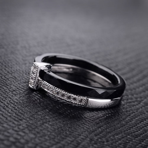 Nano Ceramic &amp; S925 Sterling Silver with CZ Diamond Embedded White Gold Electroplated Polished RingRings<br>Nano Ceramic &amp; S925 Sterling Silver with CZ Diamond Embedded White Gold Electroplated Polished Ring<br><br>Blade Length: 7.0cm