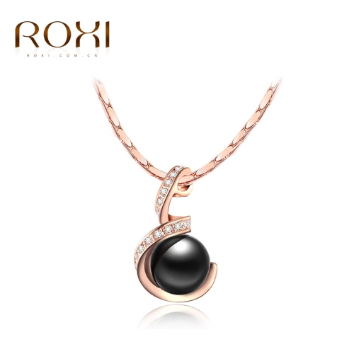 ROXI Fashion Crystal Rhinestone Simulated Pearl Pendant Necklace Women Bride Fine Wedding Engagement Jewelry J1188-2