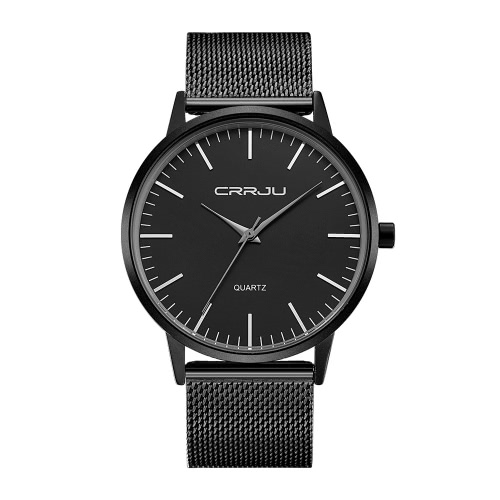 CRRJU Minimalist Design Man Business Watch 3ATM Daily Water Resistant Alloy Mesh Strap Analog Wristwatch
