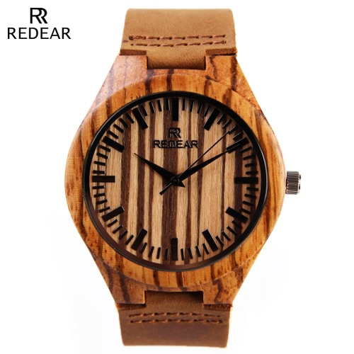 REDEAR Natural Wooden Quartz Wristwatch Daily Water Resistant High Quality Analog Man Watch for Wedding Anniversary