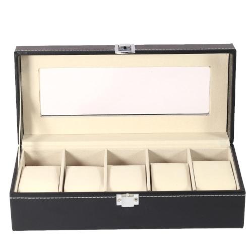 Buy PU Leather 5 Grid Watch Display Box Case Glass Top Jewelry Storage Organizer Holder Pillows
