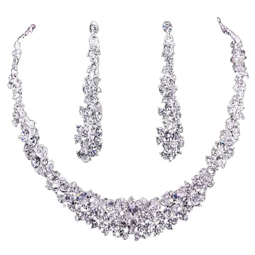 Buy Fashion Luxurious Rhinestone Crystal Necklace Chain Earrings Jewelry Set Women Girl Brid Wedding Party