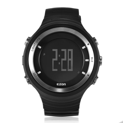 EZON Multi-Function GPS Heart Rate Monitor Pedometer Bluetooth 4.0 Smart Sports Watch Running Hiking Rechargeable Fitness Mens Watch Calories 50M Water-Proof Altitude Speed Alarm