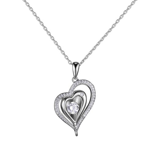 JURE Fashionable S925 Sterling Silver Pendant Rotatable Zirconia Sparkle Pendant Heart-shaped Necklace 18 Inch