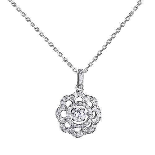 JURE Fashionable S925 Sterling Silver Pendant Rotatable Zirconia Sparkle Pendant Flower-shaped Necklace 18 InchNecklaces &amp; Pendants<br>JURE Fashionable S925 Sterling Silver Pendant Rotatable Zirconia Sparkle Pendant Flower-shaped Necklace 18 Inch<br><br>Blade Length: 8.0cm