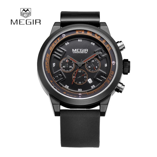 MEGIR Silicone Strap Quartz Wristwatch Fashion Casual Analog Man Sports Watch with 3 Sub-dial