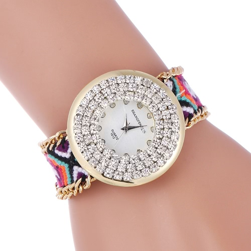 Buy Fashion Casual Young Lady Weave Bracelet Wristwatch Knitted