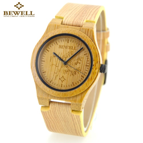 BEWELL Environmental Friendly  Genuine Leather Wooden Quartz Analog Bamboo Watch