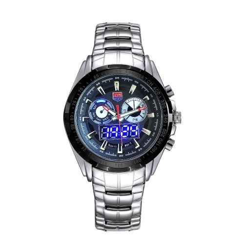 TVG Dual Time Mens LED Water Resistant Outdoor Military Stainless Steel WatchLED Watches<br>TVG Dual Time Mens LED Water Resistant Outdoor Military Stainless Steel Watch<br><br>Blade Length: 14.2cm