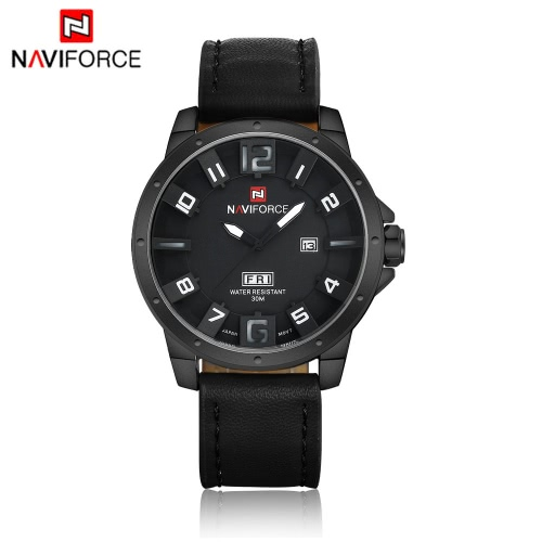 NAVIFORCE Unique 3D Face Man Watch 3ATM Water Resistant Genuine Leather PU Watchband Leisure Army Military Wristwatch with Date/Weeks Display J1164B