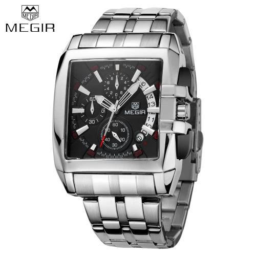 MEGIR Sturdy Alloy Strap Good Quality Man Luxury Wristwatch Rectangle Watchcase Analog Quartz Watch