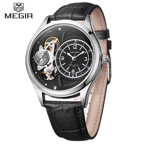 MEGIR Comfortable PU Strap Quartz Wristwatch Fashion Water Resistant Analog Man Watch