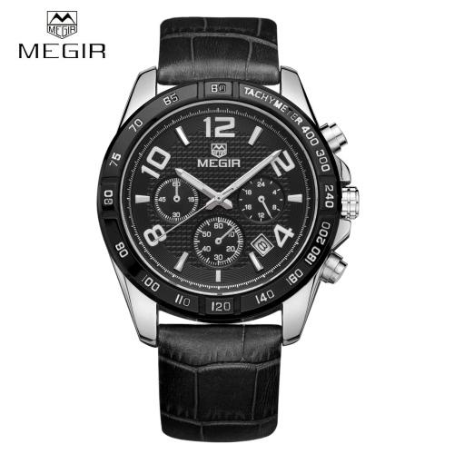 MEGIR Nice Analog Man Wristwatch 3ATM Water Resistant PU Watchband Quartz Watch with Sub-dial Date Display