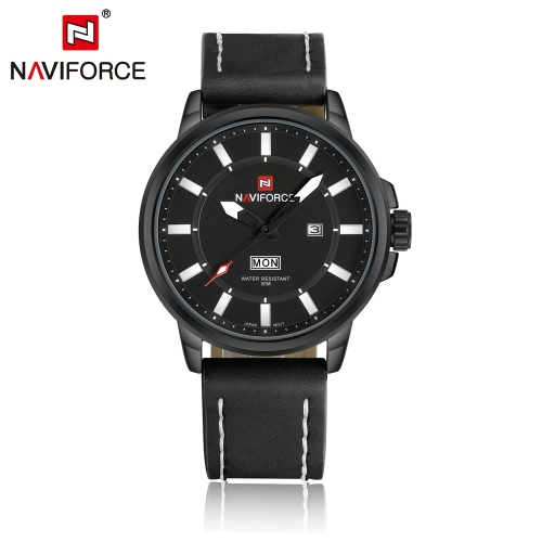 NAVIFORCE 3ATM Water Resistant Classic Analog Man Watch High Quality PU Leather Quartz Wristwatch with Date Week Function