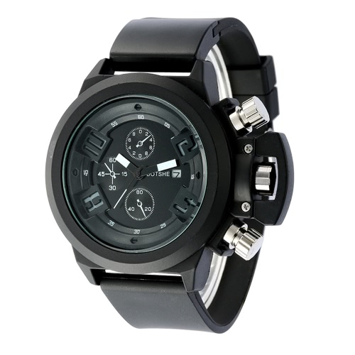 Fashion Casual High Quality Analog Quartz Watch Soft Rubber Strap Man Wristwatch with Decorative Sub-dial J1635B