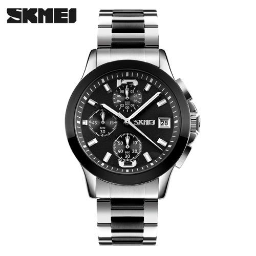 SKMEI 2016 Top Brand New Arrival Men Business Luxury Wristwatch Six Pins Quartz Watch 30M Waterproof Dress Watches Stopwatch