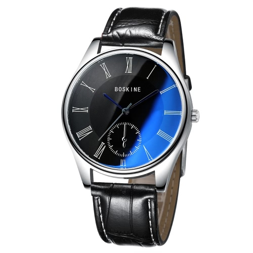 BOSKINE New Male Man Brand Fashion Trendy Style Leather Band Analog Quartz Watch Wristwatch Water Resistance Blue Light Reflecting GlassQuartz Watches<br>BOSKINE New Male Man Brand Fashion Trendy Style Leather Band Analog Quartz Watch Wristwatch Water Resistance Blue Light Reflecting Glass<br><br>Blade Length: 15.0cm