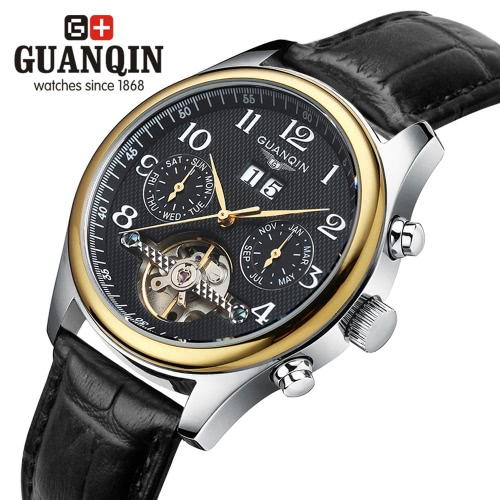 Buy GUANQIN Luxury Brand Sapphire Business Men Automatic Mechanical Wristwatch Waterproof Genuine Leather Male Casual Watch sub-dials