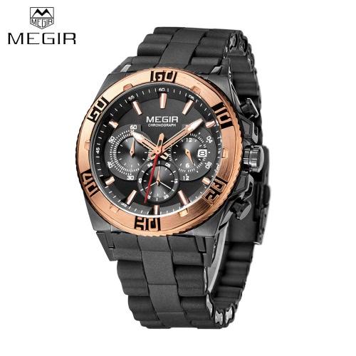 MEGIR Silicone Strap Quartz Man Wristwatch Excellent Analog Watch with Calendar and Sub-dial J1365BG